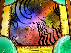 Painted Stained Glass Abstract by mouchette on Etsy, $195.00