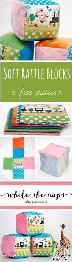 DIY Baby Toys, Homemade Toys, DIY Soft Rattle Blocks