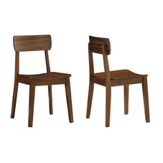 Bring a hint of nostalgic style to your space with this pair of armless wooden chairs. This set of chairs features retro style elements and a simple design. The chairs are made from real wood with a rich walnut finish for lasting beauty.