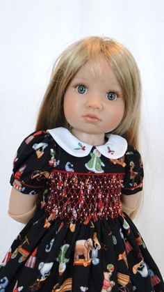 Smocked Christmas dress for Kidz N Cats doll by dancingwithneedles
