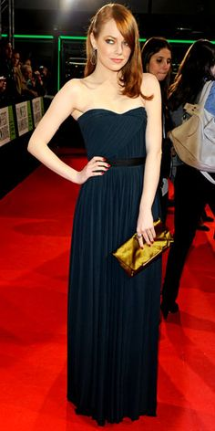 Emma Stone: Lanvin column dress& the label's silk clutch