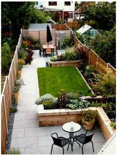 Narrow Backyard Ideas, Narrow Garden, Backyard Layout, Sloped Backyard, Small Backyard Gardens, Backyard Patio Designs, Small Backyard Landscaping, Landscaping Ideas, Back Garden Design
