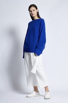Giada Cashmere / Cotton Unisex Knitted Pullover in Lapis Cropped Trousers, Cotton Bag, Body Shapes, Size Model, Cashmere, Normcore, Ivory, Unisex, Pullover