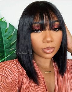 Arabella Straight Short Non-Lace Human Hair Bob Wigs with Bangs Long Bob Hairstyles, Weave Hairstyles, Pretty Hairstyles, Bob Haircuts, Natural Hairstyles, Asian Short Hair, Short Brown Hair, Bob With Bangs, Wigs With Bangs