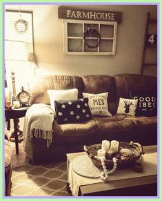 Rustic living room, farmhouse, brown couch, cozy home Decor brown living room decor - Living Room Decoration Brown Living Room, Farm House Living Room, Rustic House, Cozy House, Living Room Designs, Living Room Decor Rustic, Home Furniture, Couches Living Room, Living Decor