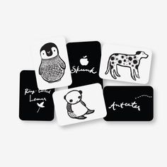 Black and white high-contrast images to stimulate visual development in infants and entertain your toddlers and preschoolers! Set of 6 big sturdy cards, printed on recycled cardstock with soy ink, inc