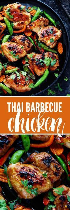 Thai Barbecue Chicken has a delicious thai marinade and is perfect served with some grilled veggies! The entire family will love this recipe!