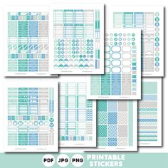 Grey blue and turquoise printable monthly and weekly planner stickers kit, STI-337