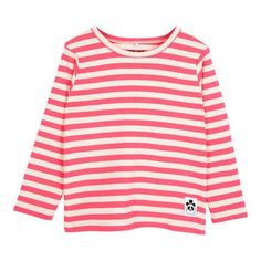 Mini Rodini Striped Rib Long Sleeve T-Shirt Pink