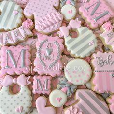 "89 Likes, 5 Comments - CJ's Cookie Co. (@cjscookieco) on Instagram: ""Pink and silver shower set  #decoratedcookies #sugarcookies #edibleart #sugarart #icingcookies…"""