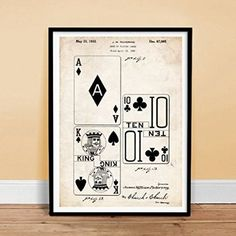 DECK OF PLAYING CARDS INVENTION 18x24 PATENT ART POSTER PRINT PICKERING 1932 VINTAGE GIFT POKER BRIDGE UNFRAMED