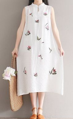 Women loose fitting over plus size flower embroidery plate buckle dress tunic #Unbranded #dress #Casual
