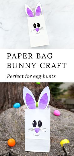 Just in time for Easter, learn how to make the easiest paper bag bunny craft, perfect for holding candy, Easter treats, or for gathering eggs at school or community Easter egg hunts. via @https://www.pinterest.com/fireflymudpie/