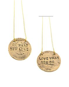 stamped metal message mantra jewelry pendant gold tone (maybe in copper or silver also)