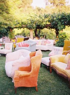 Use comfy furniture rather than fold up chairs for whimsical wedding decor! | Favorite color palettes for summer weddings