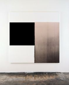 CALLUM INNES - Exposed Painting Charcoal Black, Gold Green (2000) [oil on canvas 212.5cm x 207.5cm]