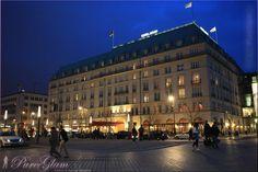 Hotel Adlon near Brandenburg Gate, Brandenburger Tor by night - Platz des 18. März, Pariser Platz, Unter den Linden - Berlin Germany/Deutschland