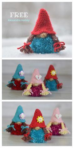Easy Yarn Crafts, Pom Pom Crafts, Xmas Crafts, Animal Knitting Patterns, Crochet Amigurumi Free Patterns, Free Crochet, Crochet Christmas Decorations, Holiday Crochet, Christmas Gnome