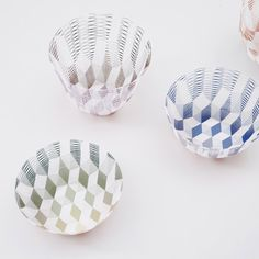 From Maison & Objet in Paris– by Torafu Architects, their paper containers that can be stretched into bowls or vases.