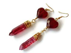 Red Heart and Quartz Shard Wire Wrap Earrings in by BranchBeads