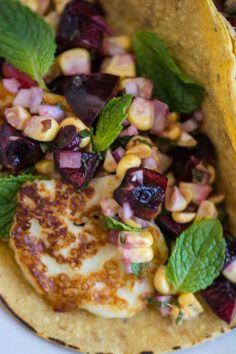 Halloumi tacos with dark cherry salsa