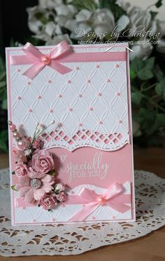 Flowers, Ribbons and Pearls: Tuesday Tutorial - Bracket Borders OneCard by Christina Griffiths [Spellbinders Matting Basics A and B, Bracket Borders One; (e/f) Couture Creations Tied Together]especially for you card by Christina Griffiths. Birthday Cards For Women, Handmade Birthday Cards, Female Birthday Cards, Wedding Cards Handmade, Beautiful Handmade Cards, Stampin Up Karten, Spellbinders Cards, Embossed Cards, Handmade Greetings