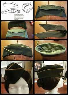 Here are the steps : 1. Pattern : mine has a similar shape as this one. I drafted the side view first and abstracted the pieces from there.  2. Stitch CF and CB of crown, same for the lining  3. Stitch crown tip, also for the lining (leave opening in lining to turn hat later) 4. Stitch top edge of brim (2 layers of fabric ) with piping in between  5. Fold brim around crown at bottom of brim, CF overlaps, stitch . 6. Stitch lining to hat, turn, close lining  7. Iron seam allowance of bottom…