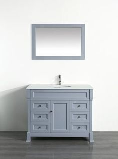 """Bosconi 43"""" SB-278GRPS Single Vanity with 1 Door 6 Drawers 1 Sink Included Wall Mounted Mirror Antique Bronze Hardware and Birch Solid Wood Frame in Grey Color"""