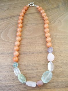 Just Peachy - Necklace - Bright Colorful Jewelry - Soft Shades  - Purple - Orange - Gemstone - Stone -Spring Fashion - Mint Pink Clear. $50.00, via Etsy.