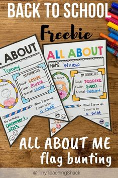 Free back to school activity for kindergarten, first grade, second grade, and third grade. There are options to print in US or UK version. Just print them out, have your students fill them in, then make a flag bunting and decorate your class!