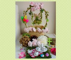 Fairy Garden Kit with fairy figure and fairy swing by MerryElfmas