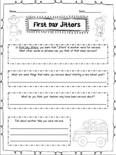 First Day Jitters Free Printable