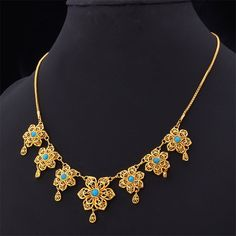 Retro Vintage Women Necklace Jewelry Wedding Necklaces For Women gold Plated Turquoise Stone New Jewelry Necklace N014