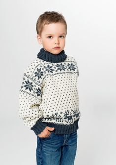 Guro Pullover and Hat Pattern free if yarn for garment is purchased at the same time Boys Sweaters, Winter Sweaters, Knitting For Kids, Knitting Projects, Viking Pattern, Norwegian Knitting, Baby Barn, Winter Gear, Fair Isle Knitting