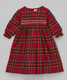 Red & Green Plaid Smocked Dress