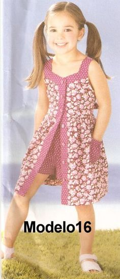 Hand Made by Juliana Melo: Ref: 127 - Children's dress template<br> Frocks For Girls, Kids Frocks, Dresses Kids Girl, Cute Dresses, Girl Outfits, Baby Dresses, Frock Patterns, Girl Dress Patterns, Toddler Dress