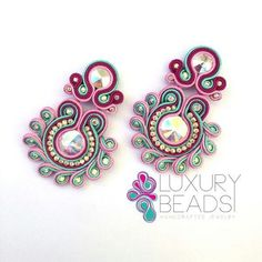 Diy Jewelry, Handmade Jewelry, Jewelry Making, Handmade Necklaces, Shibori, Soutache Jewelry, Beaded Jewelry, Bridal Earrings, Beaded Earrings