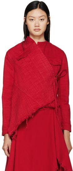 Marques Almeida - Blouson rouge en denim drapé