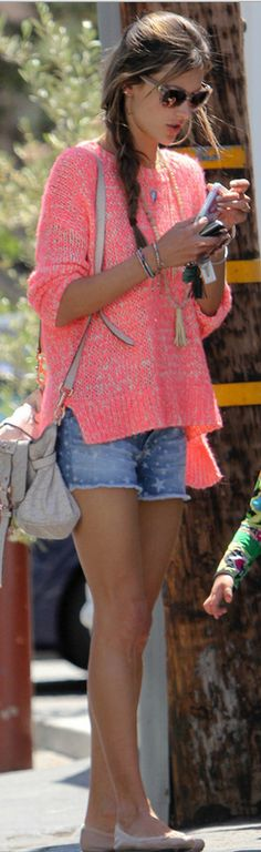 Who made Alessandra Ambrosio's handbag, pink sweater, and star denim shorts that she wore in Los Angeles?