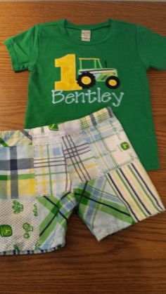 Tractor Farm Country Boys Birthday Outfit Number Shirt or Onesie and
