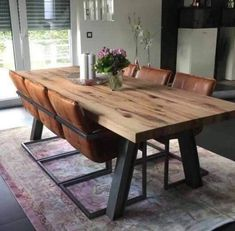 Wohnung How To Choose Laminate Flooring For Your Home Article Body: Laminate flooring is relatively Diy Dining Room Table, Rustic Kitchen Tables, Dining Table Design, Welded Furniture, Kitchen Room Design, Dining Room Inspiration, Home Interior Design, Furniture Design, Room Decor