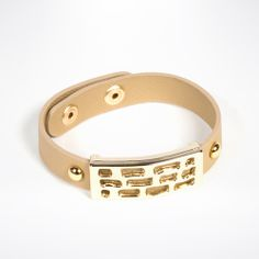 Abstract 18K Gold Plated Leather Snap Bracelet - Beige by Andara on Style Mined