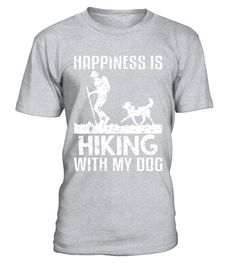 Happiness Is Hiking With My Dog Distressed T-Shirt