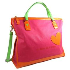 agatha ruiz de la prada pink leather designer handbag made in spain purse tote