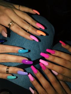 Fantastic Cute acrylic nails are offered on our internet site. Check it out and you wont be sorry you did. Summer Acrylic Nails, Cute Acrylic Nails, Colored Acrylic Nails, Aycrlic Nails, Swag Nails, Kylie Jenner Nails, Nail Manicure, Stylish Nails, Trendy Nails