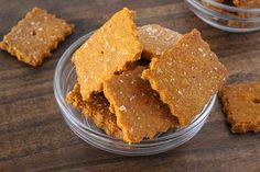 Gluten Free Cheeze-Its (almond flour, egg, paprika, turmeric version)