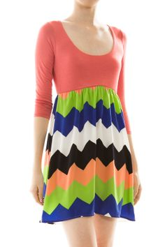 Zigzag Fit And Flared Dress
