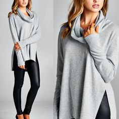 """Anonymous"" Cowl Neck Sweater Top Cowl neck long sleeve top. Available in heather grey and ivory. This listing is for the HEATHER GREY. Brand new. True to size. NO TRADES. Bare Anthology Tops Tees - Long Sleeve"