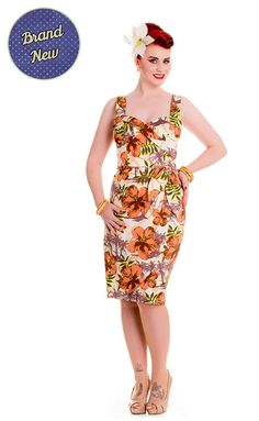 af22c208fc91 Items similar to New Vintage Style Brown/Orange Hibiscus Kalia Pencil Dress  Rockabilly Pin Up 50s Style on Etsy