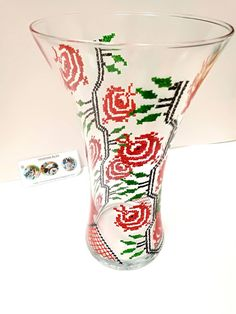 Handmade by Do : Hand painted glass vase- Traditional Romanian Desi.